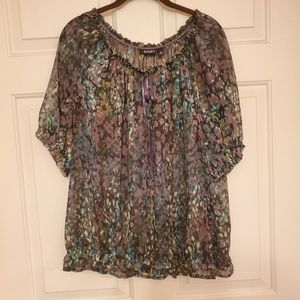 Ana size 1X blouse multi color green